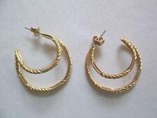 VTG. AVON*CIRCULAR HOOP PIERCED EARRINGS*GOLDTONE W/SURGICAL STEEL POST*NEW*1992