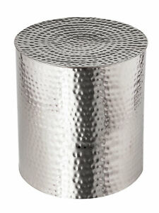 Side Table Metal ø40 X 17 11/16in Round Deco Silver Aluminium Hand Hammered