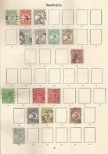 AUSTRALIA  A USED GV COLLECTION OF 90 STAMPS ON 6 ALBUM PAGES HIGH CAT SEE SCANS