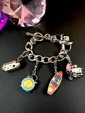JUICY COUTURE SILVER-TONE COTTON CANDY SURF BOARD CLOCK POP CAN 4 CHARM BRACELET