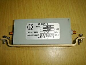 COAXIAL DYNAMICS 2134  400MHz 60W  LOW PASS FILTER - SMA CONNECTORS