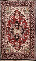 Geometric Hand-knotted Indo Heriz Oriental Area Rug Traditional Wool 4x6 Carpet