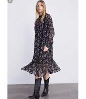 Zara Size Xsmall XS Womens Blogger Favorite Floral Midi Dress In Black NWT