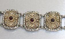 Silberarmband - schweres Armband Silber 800 mit Granat - Trachtenarmband antik