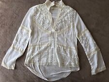 New $119 Anthropologie XS White Floral Viscose Long Sleeve Shirt