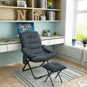 Folding Lazy Chair With Ottoman Sleeper Chair for Bedroom Livingroom Office