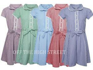 Girls School Gingham Dress Cotton Blend School Pleated Summer Dress Check