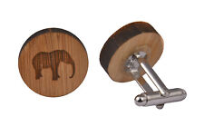 Wooden Cufflinks - Elephant