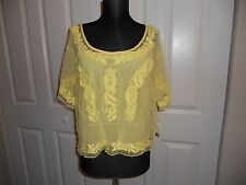 NWT DENIM & SUPPLY RALPH LAUREN YELLOW SHELL & OVERLAY TOP  SIZE SMALL