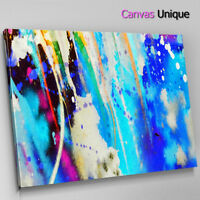 AB1607 blue modern paint splatter Abstract Wall Art Picture Large Canvas Print