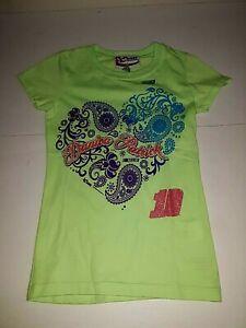 Danica Patrick # 10 Nascar Girls Green Heart Shirt, Size X-small