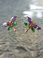 Dragonfly Earrings 14kt Solid Yellow Gold New listing Amethyst And Emerald Marquise Cut