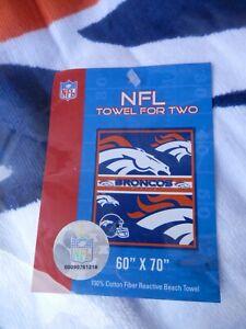"""Denver Broncos Beach Towel  60"""" X 70"""" beach, Towel For Two new vtg NFL"""