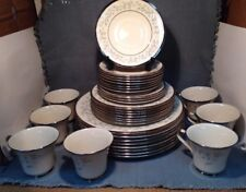 Vintage LENOX WINDSONG Dinnerware 33 Pieces, White & Blue Flowers w/Silver Trim