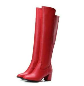 Womens Knee High Boots Knight Fashion Side Zip Leather Block Heels Boots Shoes