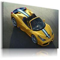 FERRARI ITALIA YELLOW  Sport Cars Large Wall Canvas Picture ART AU435   MATAGA