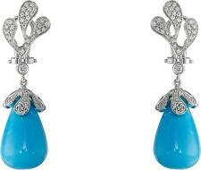 Miseno Women's Sea Leaf Turquoise Cabochon Diamond Earrings White Gold 167879