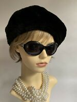 AUGUST Black 1960s Inspired French Style Faux Beaver Acrylic Beret Fully Lined
