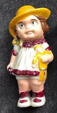 Vintage Girl Bisque Doll Made in Japan Hat Eyes Facial Expression Holding Rag