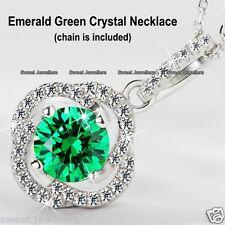 PLATA 925 Esmeralda Verde Cristal Redondo Collar - Navidad Regalos Para Ella