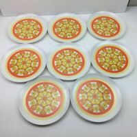 "Vintage Floral 9"" Summer Melmac Melamine Dinner Plates Yellow Orange Lot 8 Camp"