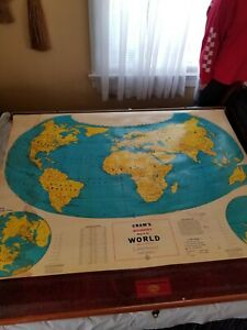 Vintage Cram's Beginner's Map of the World School Pull Down Map