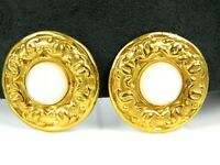 "Vintage Chanel France Logo Gold Tone 1 1/8"" Round Clip-On Earrings"