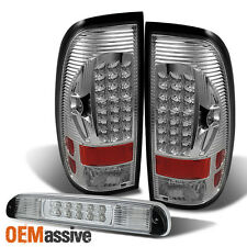 For 99-07 Ford F250/350/450/550 Superduty Clear LED Tail Lights+ 3Rd Brake Lamp