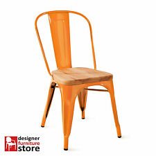 Replica Tolix Metal Stackable Chair (With 3cm Oak Wood Seat) Orange