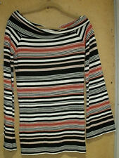 Free People Black White Copper Striped Wide Cowl Neckline Tunic Large Knit Top