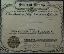 1953 Certificate STATE OF ILLINOIS DEPT OF REGISTRATION MEDICAL LICENSE  Seal