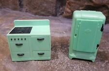 Renwal JADEITE GREEN KITCHEN SET, Vintage Plastic Dollhouse Furniture Ideal 1:16