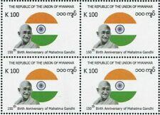 Myanmar 2019 Burma Mahatma Gandhi 150th Birth Anniversary India Blk/4 stamps
