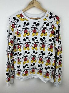 Vintage Mickey Mouse Disney Mens Jumper Size M Pullover All Over Graphics Crew