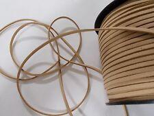 10m Faux Suede Cord Flat 3mm x 1.5mm BEIGE ( Necklace Bracelet 10 metres )