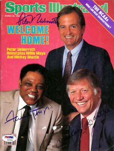 Mickey Mantle, Willie Mays & Peter Ueberroth Autographed Magazine PSA S06550