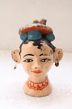 Antique Old Terracotta Painted Holy Goddess Parvati Gauri Head Statue NH3523
