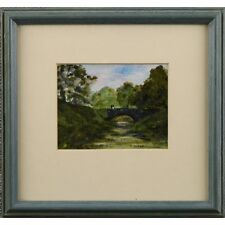 Originale Signée Encadrée Acrylique Miniature Welsh Stone Bridge tableau de paysage