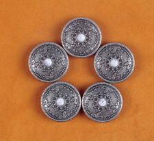 10PC 26MM White Turquoise Sun Star Retro Silver Floral Rope Equestrian Conchos