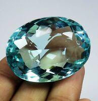 Natural 108.70 Ct Ocean Blue Aquamarine Oval Shape Loose Gemstone
