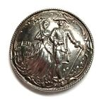 Antique Button ~ Lovely Sterling Silver with Figural Couple and Hallmarks