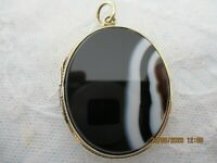 VICTORIAN ROLLED GOLD BANDED AGATE LOCKET , SCOTTISH C 1880-1900 VERY PRETTY