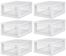 6 Sterilite 23608006 Medium Modular Stacking Storage Drawer Clear Box Containers