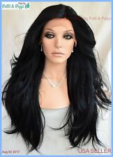 Swiss Lace Front Wig 4X4 Silk Top Handtied Heat Safe Color #1 Long Thick 1239