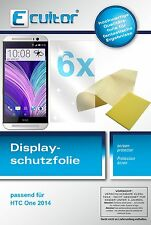 6x HTC One M8 2014 Pellicola Prottetiva Transparente Proteggi Schermo