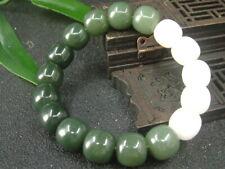 Chinese Antique Nephrite Hetian Old jade bangle whtie&Green Beads-Bracelets