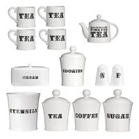 White Tea Coffee Sugar Cookies Utensil Bread S&P 4pc Mugs Storage Canisters Jars
