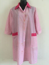 """VINTAGE RETRO Ladies MAYBELL Pink Checked Nylon Overall Apron Chest 44"""""""