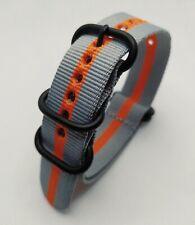 20 mm Nato Strap Correa Reloj Nylon Watch band Gris y naranja Grey & Orange