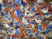 MARBLES 2 POUNDS 7/8 INCH RED WHITE &  BLUE CATSEYE MEGA MARBLES FREE SHIPPING